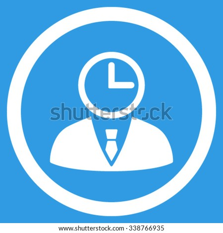 Time Manager vector icon. Style is flat rounded symbol, white color, rounded angles, blue background. - stock vector