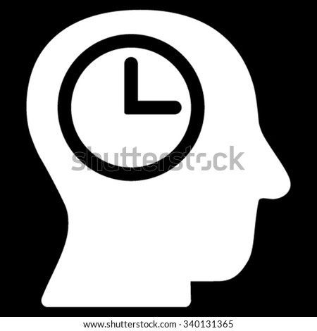 Time Manager vector icon. Style is flat symbol, white color, rounded angles, black background. - stock vector