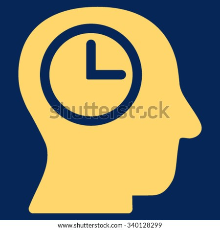 Time Manager vector icon. Style is flat symbol, yellow color, rounded angles, blue background. - stock vector