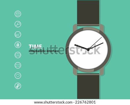 Time. Minimalistic Web and mobile interface template. with a wristwatch and a set of icons. flat design. - stock vector