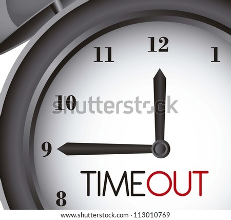 time out with clock alarm, close up. vector illustration