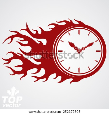 Time runs fast concept, vector timer with burning flame. Eps 8 highly detailed vector illustration. Deadline theme stylized illustration. - stock vector