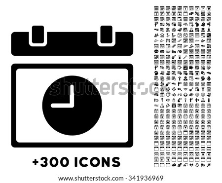 Time Schedule vector pictogram with additional 300 date and time management icons. Style is flat symbols, black color, rounded angles, white background. - stock vector