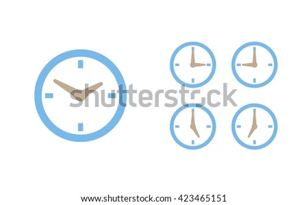Time set icon. Clock set icon.