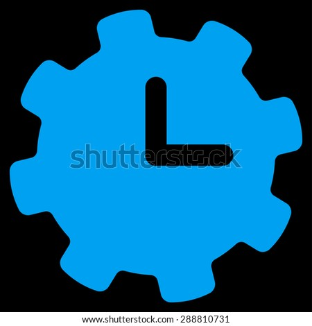 Time settings icon from Business Bicolor Set. This flat vector symbol uses blue color, rounded angles, and isolated on a black background. - stock vector