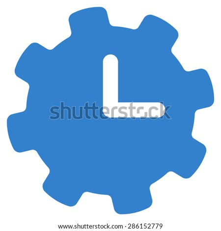 Time settings icon from Business Bicolor Set. This flat vector symbol uses cobalt color, rounded angles, and isolated on a white background. - stock vector