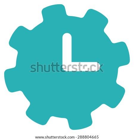 Time settings icon from Business Bicolor Set. This flat vector symbol uses cyan color, rounded angles, and isolated on a white background. - stock vector