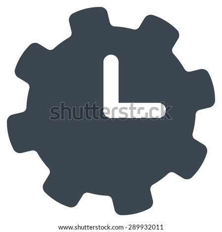 Time settings icon from Business Bicolor Set. This flat vector symbol uses smooth blue color, rounded angles, and isolated on a white background. - stock vector