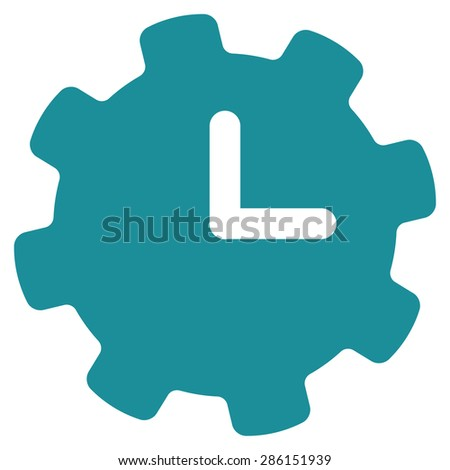 Time settings icon from Business Bicolor Set. This flat vector symbol uses soft blue color, rounded angles, and isolated on a white background. - stock vector