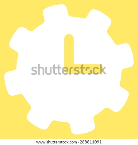 Time settings icon from Business Bicolor Set. This flat vector symbol uses white color, rounded angles, and isolated on a yellow background. - stock vector