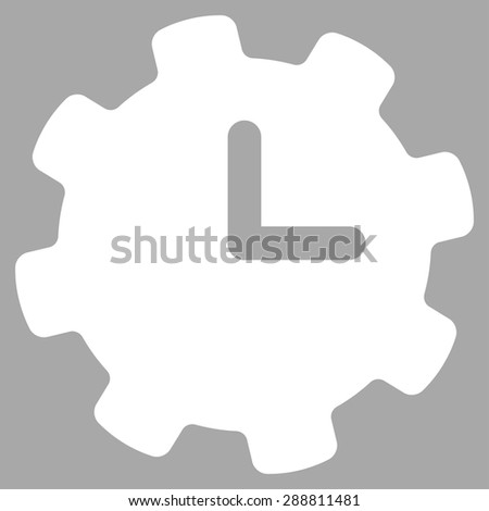 Time settings icon from Business Bicolor Set. This flat vector symbol uses white color, rounded angles, and isolated on a silver background. - stock vector