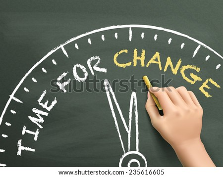 time to change written by hand on blackboard - stock vector