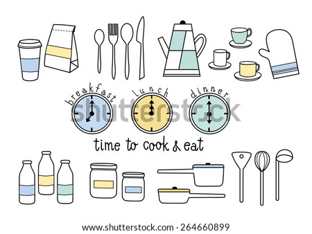 time to cook and eat breakfast, lunch, dinner - stock vector