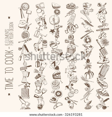 Time to cook - Set elements for your design, vegetables, kitchen tools, food - stock vector