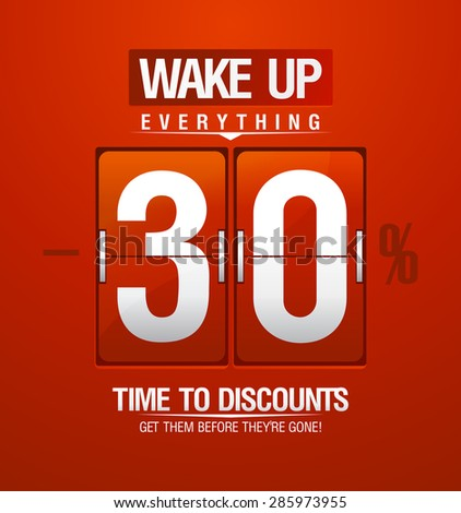 Time to discounts. 30% sale coupon in shape of red analog flip clock. - stock vector