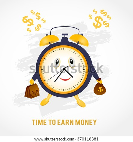 Time to earn money - business concept. Clock with briefcase and dollars. Vector illustration. - stock vector