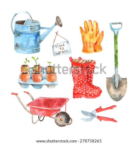 Time to gardening watercolor pictograms composition of watering pot and seedlings to plant abstract vector isolated illustration - stock vector