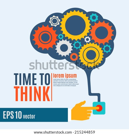 Time to think, creative brain idea concept, background. Flat design. Perfect for poster, flyer, presentation or brochure. Vector illustration - stock vector
