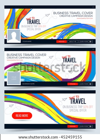 Time to Travel. Colorful vector Web Banner. Creative cover. Header Layout Template for travel business - stock vector