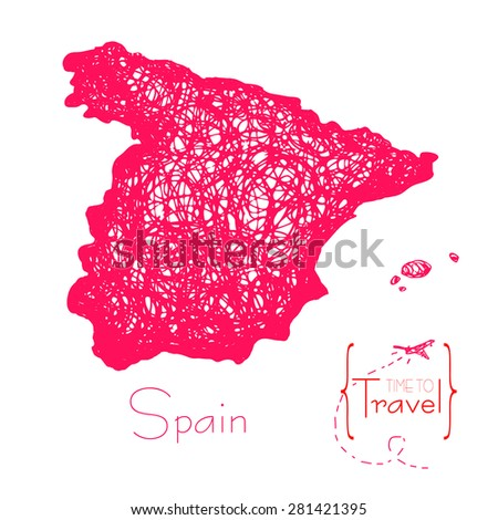 Time to travel. Drawn by hand a map of Spain. Outline of Spain for tourist advertising booklet for advertising - stock vector
