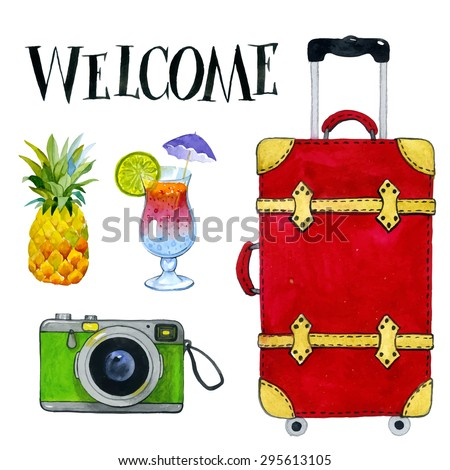 Time to travel, summer vacation and tourism background. Watercolor hand drawing painting. Scrap-booking elements. Red travel suitcase with wheels realistic. - stock vector
