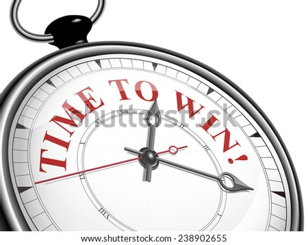time to win concept clock isolated on white background - stock vector