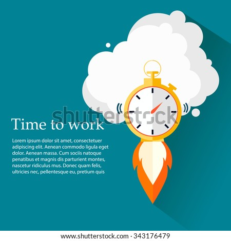 Time to work. Time is running out.Clock,Stopwatch soaring up. Vector Design - stock vector