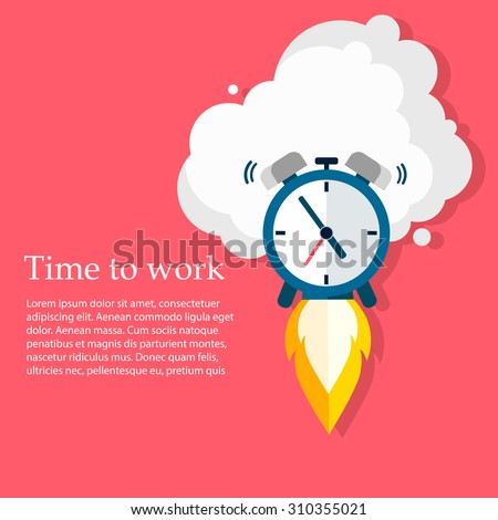 Time to work. Time is running out. Vector Design  - stock vector