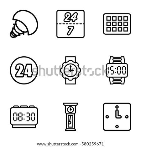 Orange Icons Set Set 16 Orange Stock Vector 590331218