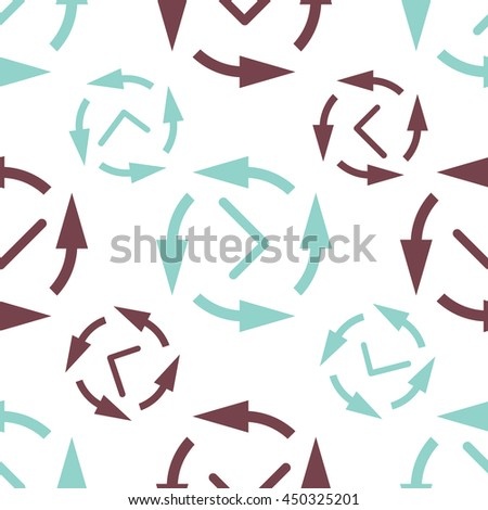 Time vector seamless background. Endless pattern with clocks.
