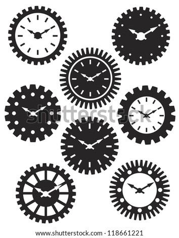 Time Watch or Clocks in Mechanical Gears Silhouette Outline Vector Illustration - stock vector