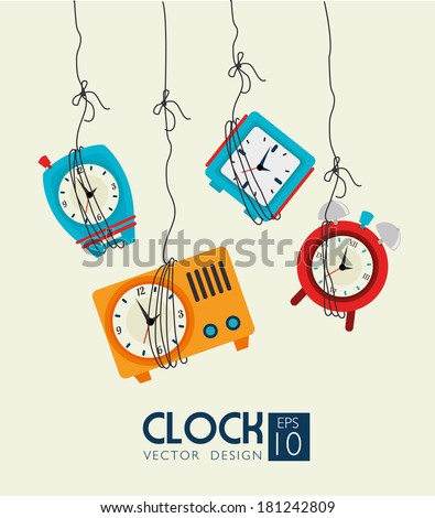 time watch over beige background vector illustration