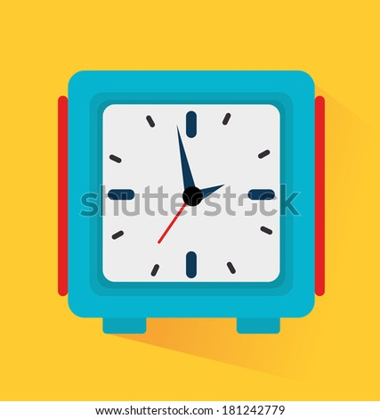 time watch over yellow background vector illustration - stock vector