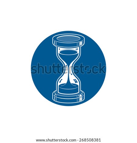 Time without end vector conceptual icon, web design element. 3d antique hourglass isolated on white. Time management idea. - stock vector