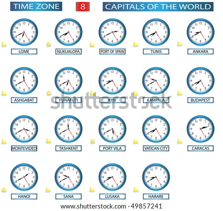 TIME ZONE 8 - ALL CAPITALS OF THE WORLD - FILE 8/8 - stock vector
