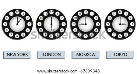 time zone clocks for four different countries against white background, abstract vector art illustration - stock vector