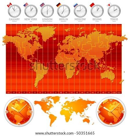Time zones and clocks - stock vector