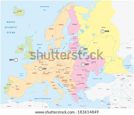 time zones of europe - stock vector
