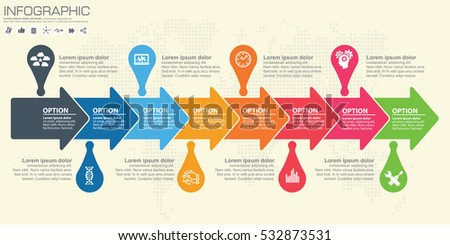 Timeline arrow vector infographic world map stock vector 532873531 timeline and arrow vector infographic world map background gumiabroncs Gallery