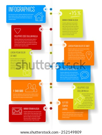 Timeline and frames with shadows - infographic template with place for your text. Vector illustration. - stock vector
