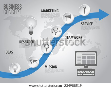 Timeline business infographic with vector icons - stock vector