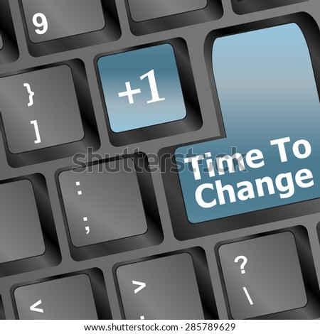 Timeline concept: computer keyboard with Clock icon and word Time for Change on enter button background, 3d render vector - stock vector