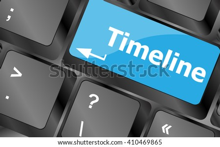 timeline concept - word on keyboard keys. Keyboard keys icon button vector - stock vector