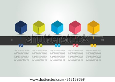 Timeline cube template. Horizontal line. Vector infographic illustration. - stock vector