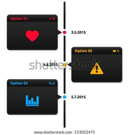Timeline dark theme - 3 options with date - glossy infographics - stock vector