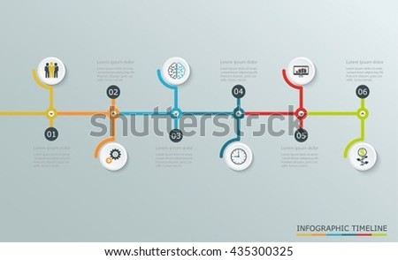 Timeline graph with business icons, step by step  horizontal structure. - stock vector