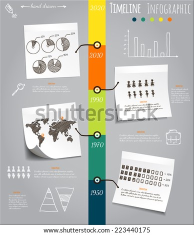 Timeline Infografic, hand drawn vector elements on sticky notes - stock vector