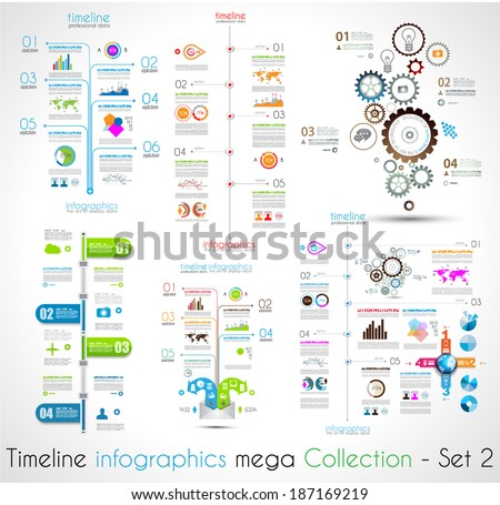 Timeline Infographic design templates Set 2.  With paper tags. Idea to display information, ranking and statistics with orginal and modern style. - stock vector