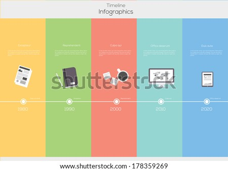 Timeline Infographic. Flat Vector design template. - stock vector