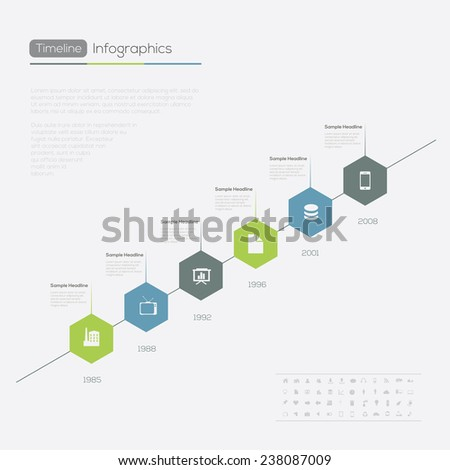 Timeline Infographic.  Vector design illustration template. - stock vector
